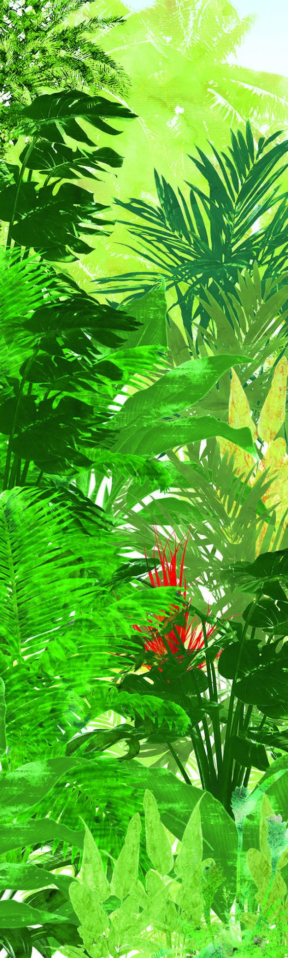 Richiami a mondi lontani, rigogliose vegetazioni e animali esotici sono pronti a prendere posto sulle pareti di casa grazie alla collezione Tropical Attitude. La carta da parati, con base in cellulosa e fibre tessili, è priva di PVC.