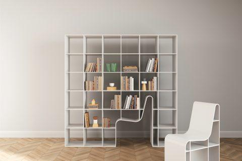 Disegnata da Sou Fujimoto la libreria Bookchair/210 ha struttura e piani in Mdf laccato e seduta estraibile realizzata con la stessa finitura.