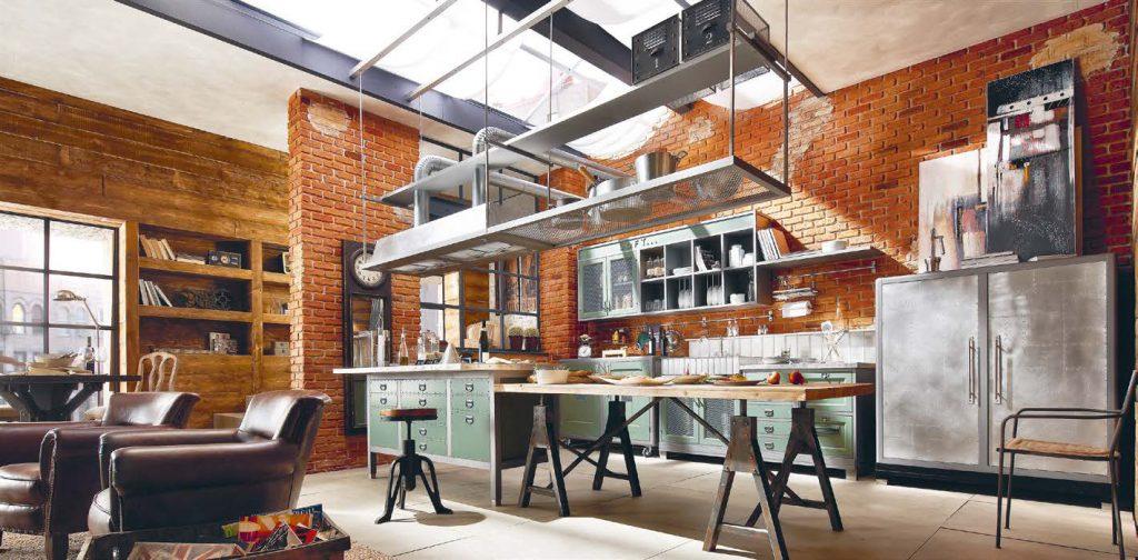 stile newyorkese per la cucina industrial che diventa zona giorno